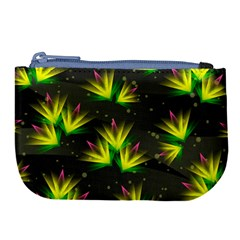 Background Floral Abstract Lines Large Coin Purse