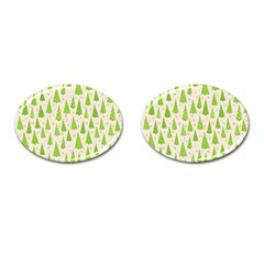 Christmas Green Tree Cufflinks (oval)