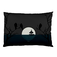 Birds Moon Moonlight Tree Animal Pillow Case (two Sides)