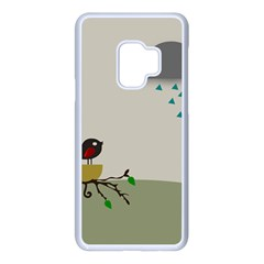 Birds Tree Animal Black Tree Samsung Galaxy S9 Seamless Case(white)
