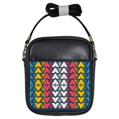 Background Colorful Geometric Unique Girls Sling Bag by HermanTelo