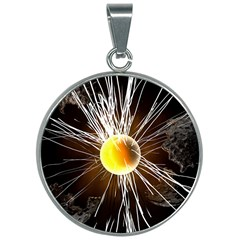 Abstract Exploding Design 30mm Round Necklace by HermanTelo