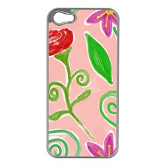 Background Colorful Floral Flowers Iphone 5 Case (silver) by HermanTelo
