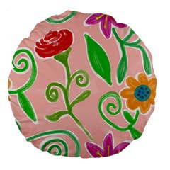 Background Colorful Floral Flowers Large 18  Premium Flano Round Cushions
