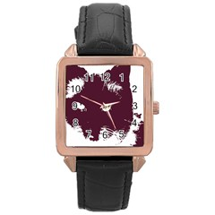 Cat Nature Design Animal Skin Pink Rose Gold Leather Watch