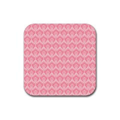 Damask Floral Design Seamless Rubber Coaster (square)  by HermanTelo