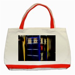 Famous Blue Police Box Classic Tote Bag (red) by HermanTelo