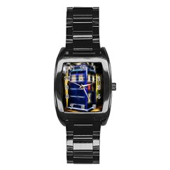 Famous Blue Police Box Stainless Steel Barrel Watch