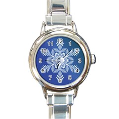 Flake Crystal Snow Winter Ice Round Italian Charm Watch by HermanTelo