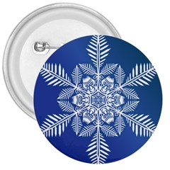 Flake Crystal Snow Winter Ice 3  Buttons by HermanTelo
