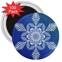 Flake Crystal Snow Winter Ice 3  Magnets (100 Pack) by HermanTelo