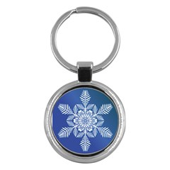 Flake Crystal Snow Winter Ice Key Chain (round) by HermanTelo
