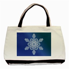 Flake Crystal Snow Winter Ice Basic Tote Bag (two Sides) by HermanTelo