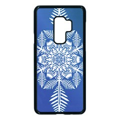 Flake Crystal Snow Winter Ice Samsung Galaxy S9 Plus Seamless Case(black) by HermanTelo