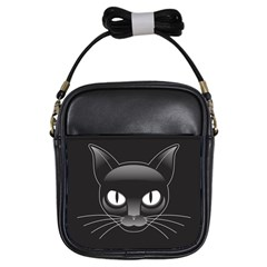 Grey Eyes Kitty Cat Girls Sling Bag by HermanTelo