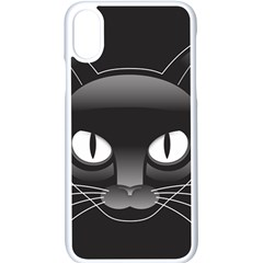 Grey Eyes Kitty Cat Iphone Xs Seamless Case (white)