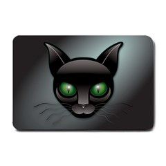 Green Eyes Kitty Cat Small Doormat  by HermanTelo