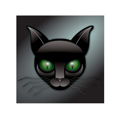 Green Eyes Kitty Cat Small Satin Scarf (square)