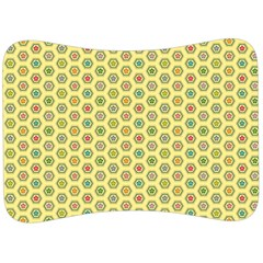 Hexagonal Pattern Unidirectional Yellow Velour Seat Head Rest Cushion
