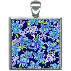 Preppy Floral Pattern Square Necklace by tarastyle