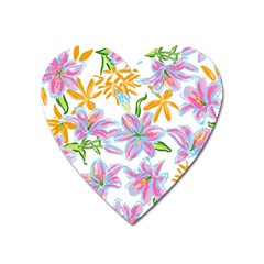 Preppy Floral Pattern Heart Magnet by tarastyle