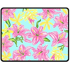 Preppy Floral Pattern Fleece Blanket (medium)  by tarastyle