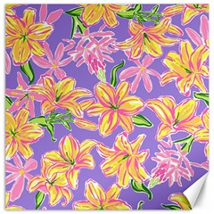 Preppy Floral Pattern Canvas 16  X 16  by tarastyle