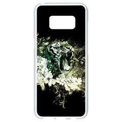 Awesome Tiger With Flowers Samsung Galaxy S8 White Seamless Case by FantasyWorld7