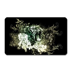 Awesome Tiger With Flowers Magnet (rectangular) by FantasyWorld7