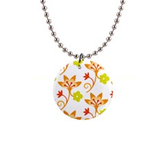 Pattern Floral Spring Map Gift 1  Button Necklace