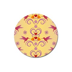 Pattern Bird Flower Magnet 3  (round)