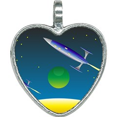Rocket Spaceship Space Heart Necklace by HermanTelo
