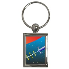 Rocket Spaceship Space Galaxy Key Chain (rectangle)