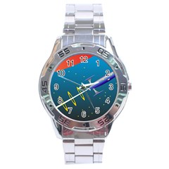 Rocket Spaceship Space Galaxy Stainless Steel Analogue Watch