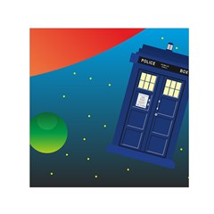 Tardis Doctor Time Travel Small Satin Scarf (square)