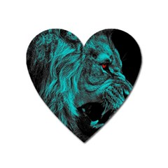 Angry Male Lion Predator Carnivore Heart Magnet by Sudhe