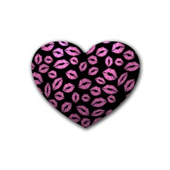 Pink Kisses Rubber Coaster (heart)  by TheAmericanDream