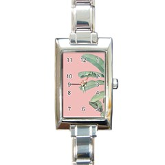 Banana Leaf On Pink Rectangle Italian Charm Watch by goljakoff