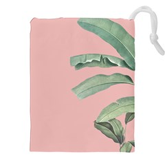 Banana Leaf On Pink Drawstring Pouch (xxl) by goljakoff
