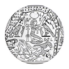 Egyptian Hieroglyphics History Seb Round Filigree Ornament (two Sides)