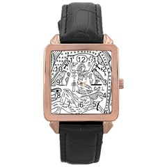 Egyptian Hieroglyphics History Seb Rose Gold Leather Watch