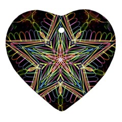 Star Mandala Pattern Design Doodle Heart Ornament (two Sides)
