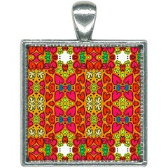 Abstract Background Pattern Doodle Square Necklace by Pakrebo
