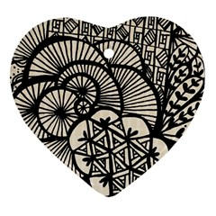 Background Abstract Beige Black Heart Ornament (two Sides)