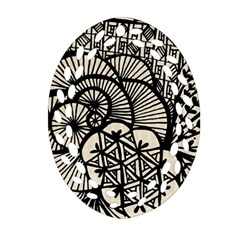 Background Abstract Beige Black Oval Filigree Ornament (two Sides)