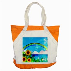 Sunflower And Rainbow Ocean Bokeh Accent Tote Bag