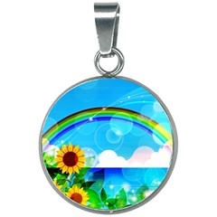 Sunflower And Rainbow Ocean Bokeh 20mm Round Necklace