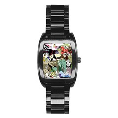 Zoo Animals Peacock Lion Hippo Stainless Steel Barrel Watch