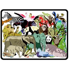 Zoo Animals Peacock Lion Hippo Double Sided Fleece Blanket (large)