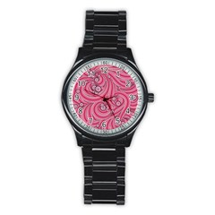 Pattern Doodle Design Drawing Stainless Steel Round Watch